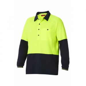 HARD YAKKA Y11389 KOOLGEAR HI-VISIBILITY TWO TONE LONG SLEEVE VENTILATED POLO