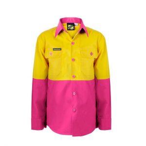 Workcraft WSK127 Kids Lightweight Two Tone L/S Cotton Drill Shirt