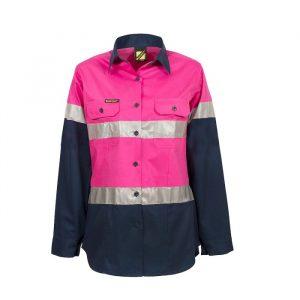 Workcraft WSL503 Ladies Lightweight Hi Vis Two Tone L/S Vented Cotton Drill Shirt