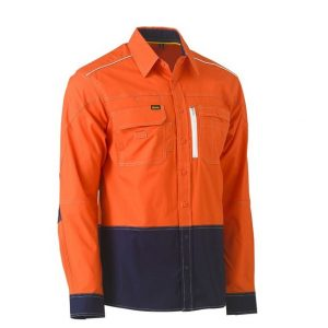Bisley BS6177 Flx & Move™ Two Tone Hi Vis Utility Shirt
