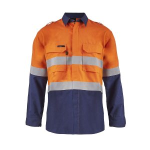 Flamebuster FSV014 Torrent HRC2 Mens Hi Vis Two Tone Open Front Shirt with Gusset Sleeves and FR Reflective Tape