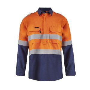 Flamebuster FSV015 Torrent HRC2 Mens Hi Vis Two Tone Close Front Shirt with Gusset Sleeves and FR Reflective Tape