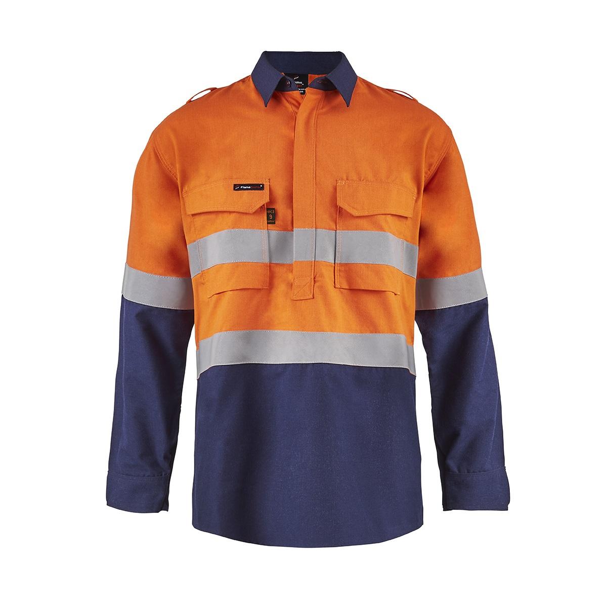 FSV015_torrent_mens_half_placket_shirt_orange-navy_front