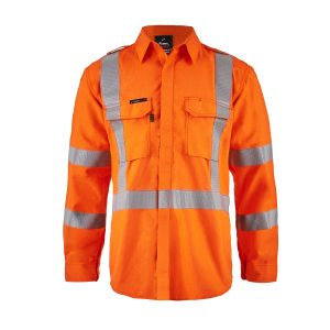 Flamebuster FSV028 Torrent HRC2 Mens Hi Vis Open Front Shirt with Gusset Sleeves with X- pattern FR Reflective Tape