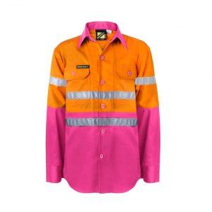 Workcraft WSK125 Kids Lightweight Two Tone L/S Cotton Drill Shirt