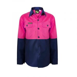 Workcraft WSK128 Kids Lightweight Two Tone L/S Cotton Drill Shirt