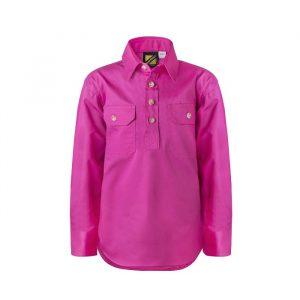 Workcraft WSK131 Kids Lightweight L/S Half Placket Cotton Drill Shirt