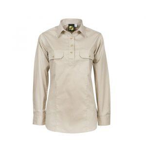 Workcraft WSL505 Ladies Lightweight L/S Half Placket Cotton Drill Shirt