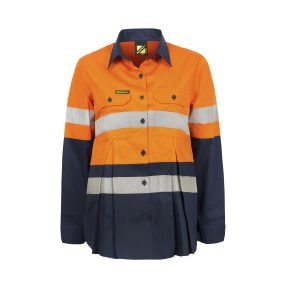 Workcraft WSL601 Maternity Lightweight Hi Vis Two Tone L/S Vented Cotton Drill Shirt