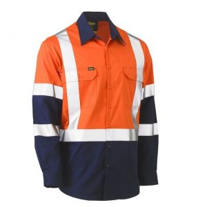 BISLEY BS6696XT X TAPED BIOMOTION TWO TONE HI VIS LIGHTWEIGHT DRILL SHIRT