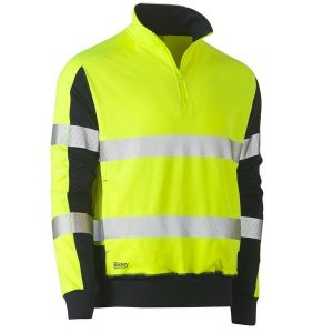 BISLEY BK6817T TAPED TWO TONE HI VIS CONTRAST STRETCHY 1/4 ZIP PULLOVER