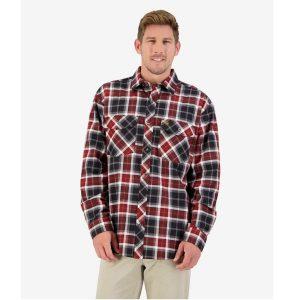 Swanndri SE18250M Khaki & Crimson Men's Egmont Full Placket Shirt Twin Pack